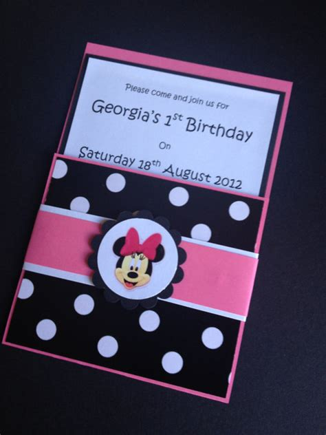 Handmade Minnie Mouse Invitations - items similar to handmade pink black minnie mouse