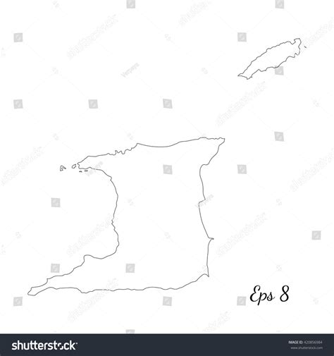 outline black white pants vector illustration isolated on vector map trinidad tobago outline map stock vector
