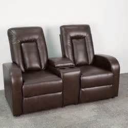 eclipse series 2 seat reclining brown leather theater