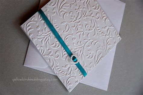 Ideas For Handmade Wedding Invitations - handmade pearly white and teal wedding invitation luxury