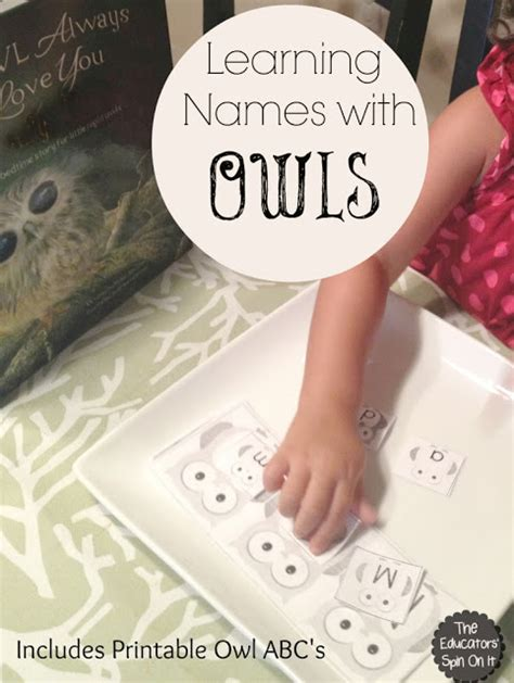 theme names are identified by their the educators spin on it owl themed name game for kids