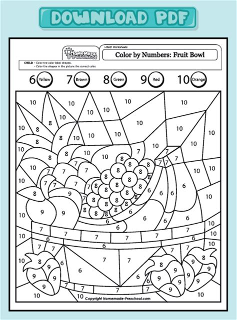 free coloring pages of fruit color by numbers