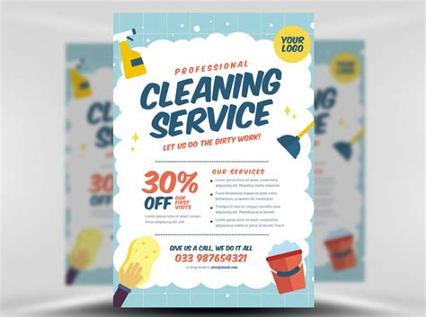 templates for cleaning service flyers cleaning service flyer template v2 flyerheroes