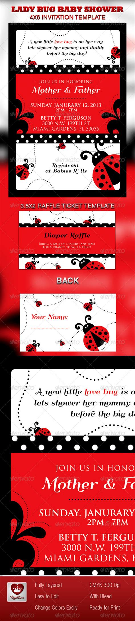 Lady Bug Baby Shower Invitation Raffle Ticket Graphicriver Free Printable Ladybug Baby Shower Invitations Templates