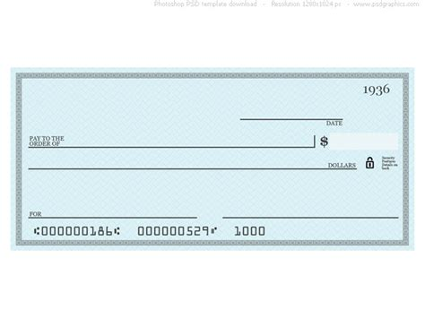 big check template blue check psd template psdgraphics