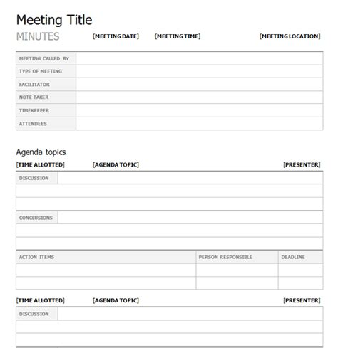 Meetings Minutes Template by Top 5 Free Meeting Minutes Templates Word Templates