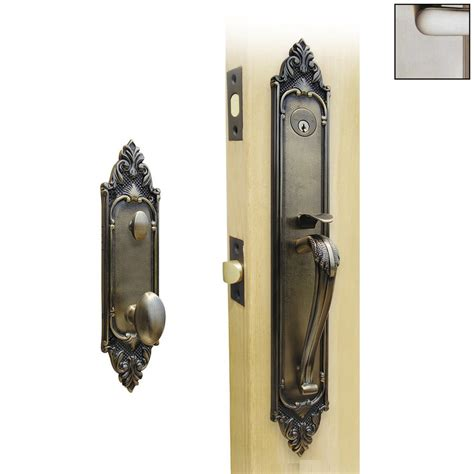 Exterior Door Handleset Shop Hill Brass Satin Nickel Mortise Lock Keyed Entry Door Handleset At Lowes