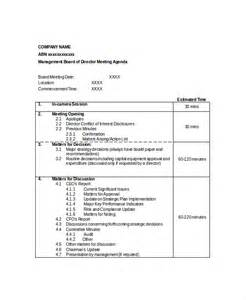 Manager Meeting Agenda Template by 12 Board Of Directors Meeting Agenda Templates Free