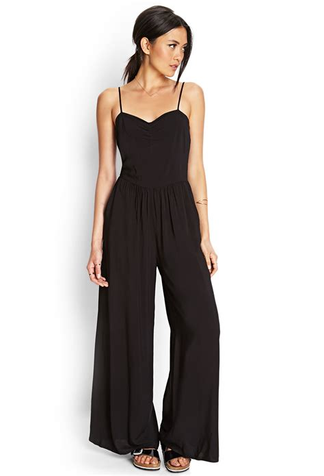 Yumico 3 In 1 Jumpsuit forever 21 wide leg jumpsuit in black lyst