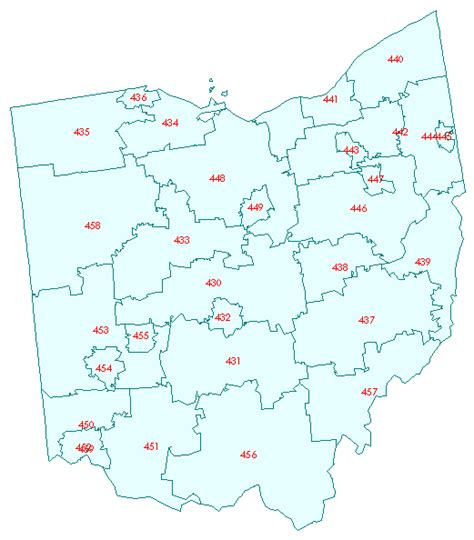 ohio zip code map 3 digit zip code map