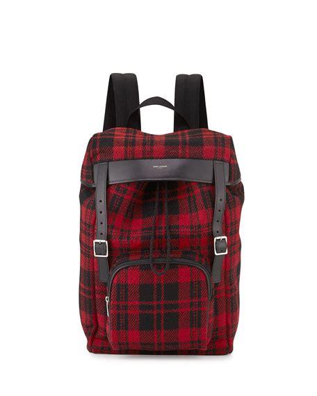 Plaid Buckled Backpack laurent tartan plaid backpack