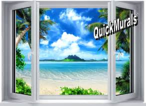 Stick On Wall Murals Tropical Paradise Window 1 Piece Peel Amp Stick Wall Mural