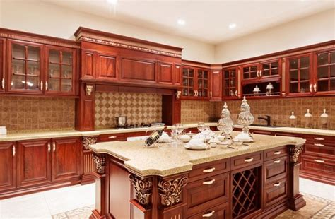 countertops with cherry cabinets cherry kitchen cabinets with gray wall and quartz