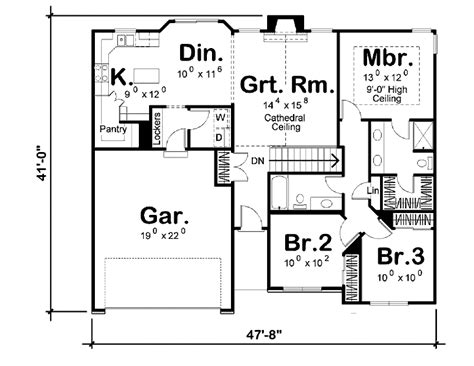 455 square feet traditional style house plan 3 beds 2 baths 1330 sq ft