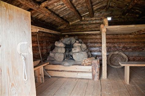 interior ancient traditional russian wooden house