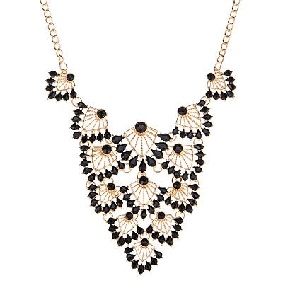 Kalung Korea Choker Decorated Hollow Out Design fashion black leaf shape decorated hollow out design alloy bib necklaces asujewelry