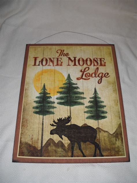 the lone moose lodge wooden wall sign by