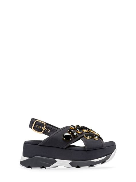 marni sandal crossover sandal in technical fabric with piping from the