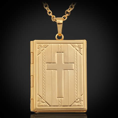 cross jewelry pendant necklace bible book photo lockets