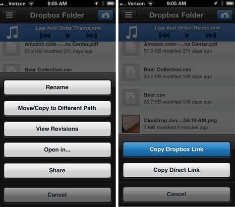 dropbox direct link dropbox and photos two ios apps