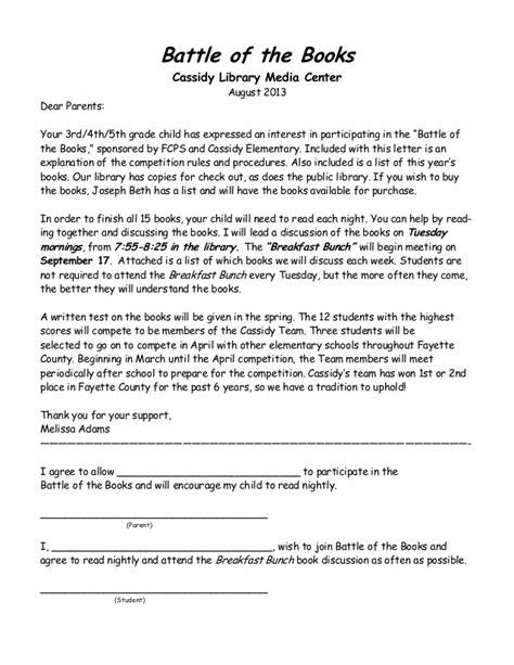 Permission Letter Copyright Battle Of The Books Permission Letter