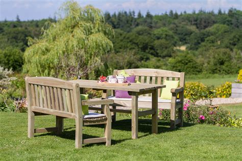garden bench set emily table 2 bench wooden dining set garden furniture land