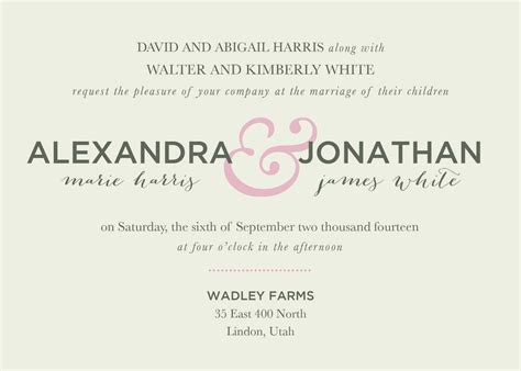 Invitation Text Wedding by Wedding Invitation Wording Ideas Theruntime