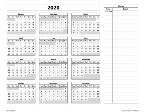 yearly calendar mon start  notes excel template exceldatapro