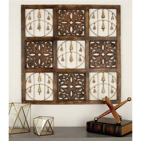 home depot decorative 36 in x 36 in rustic mango wood and iron decorative bells square wall panel 24223 the home depot