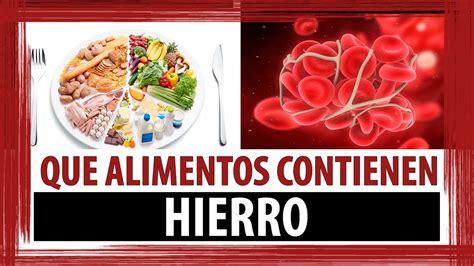 alimentos contienen hierro alimentos altos en hierro youtube