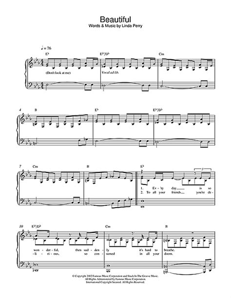 tutorial piano hurt christina aguilera beautiful sheet music by christina aguilera easy piano