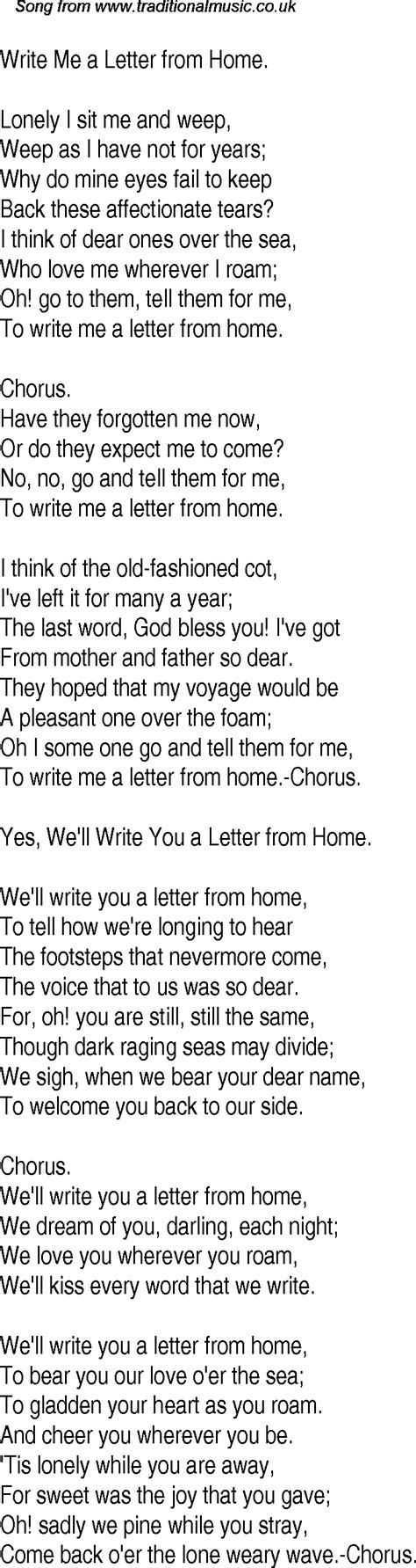time song lyrics for 15 write me a letter from home