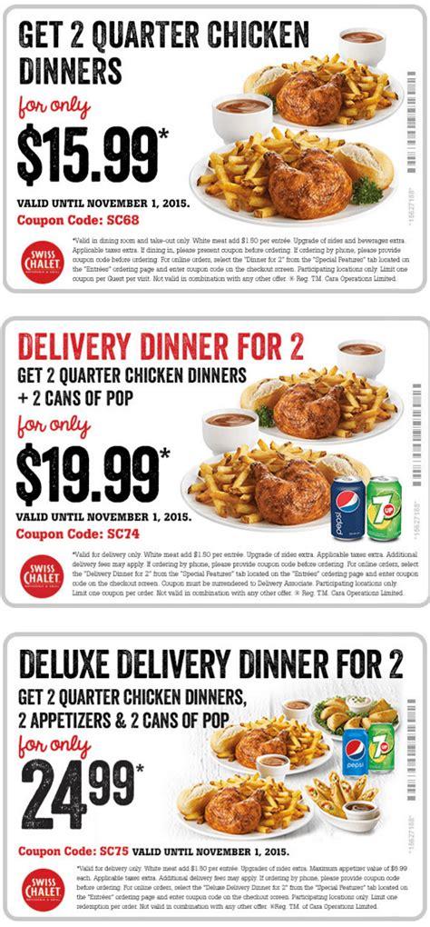 dinner deals swiss chalet canada coupons get 2 quarter chicken dinners