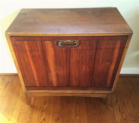 mid century drop front walnut record storage cabinet