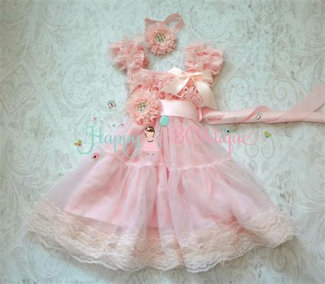 Sehm04 Set Hm Pink Flower Flower dress baby pink chiffon lace dress set baby