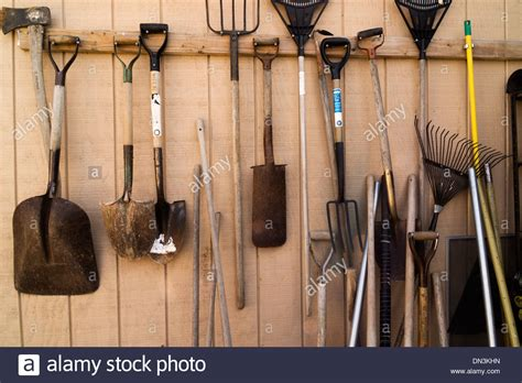 how to hang tools in shed tools hanging on a shed wall stock photo royalty free image 64620129 alamy
