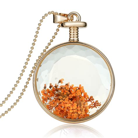 clear glass pendants for jewelry 1pcs real dried flower clear glass pendant