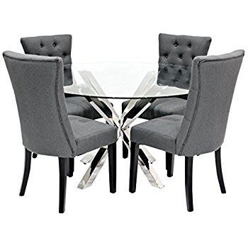 Circular Glass Dining Table And 4 Chairs Yakoe Glass Dining Table Set And Chairs Modern Chrome Legs With Chrome Dining Room Table