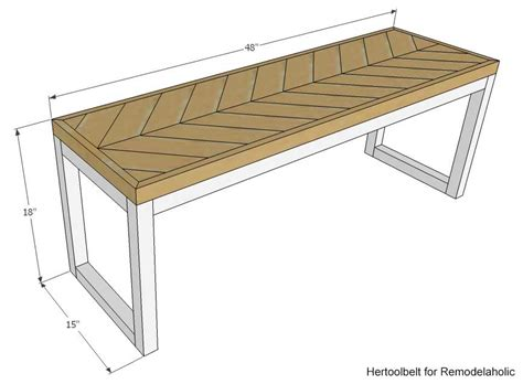 size of bench remodelaholic diy wood chevron bench with box frame