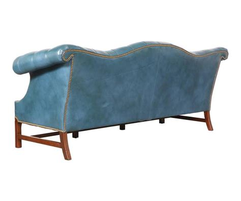 Blue Chesterfield Leather Sofa Vintage Leather Teal Blue Chesterfield Sofa For Sale At 1stdibs
