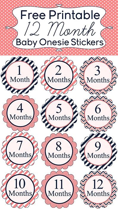 printable milestone stickers 9 free printable monthly baby stickers pretty my party