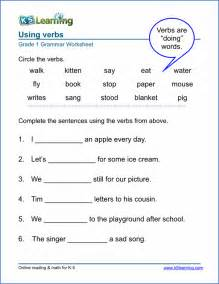 Verb worksheets for elementary school printable amp free k5 learning