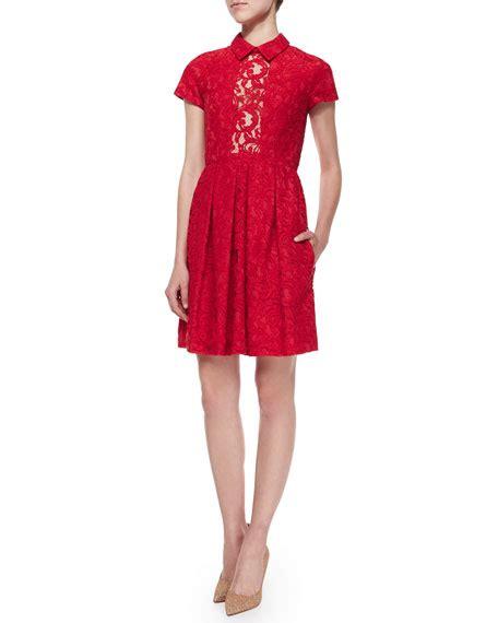 Panel Sleeve Shirtdress carven sleeve pleated lace shirtdress
