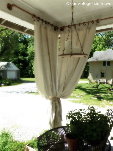 vintage home love backside porch ideas  summer   industrial pipe curtain rod