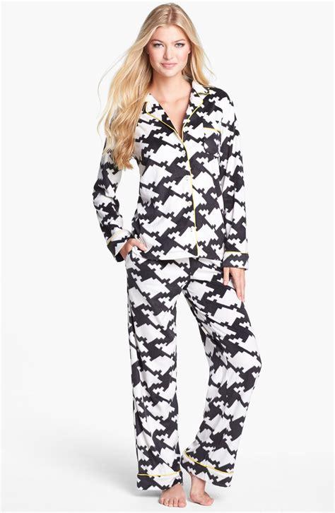 dkny wish list pajamas in black black houndstooth lyst