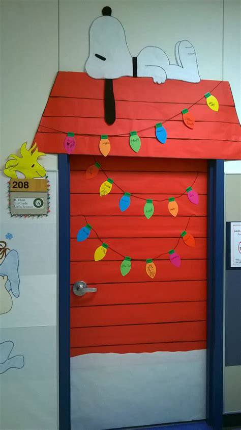 school door christmas decorating ideas brown classroom door decoration that snoopy and woodstock