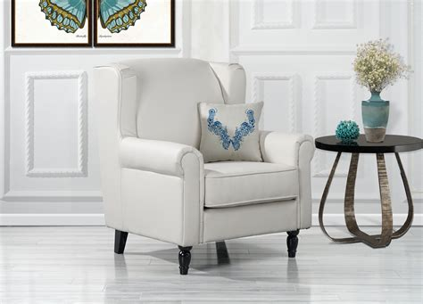 classic scroll arm faux leather accent chair living room armchair white  ebay