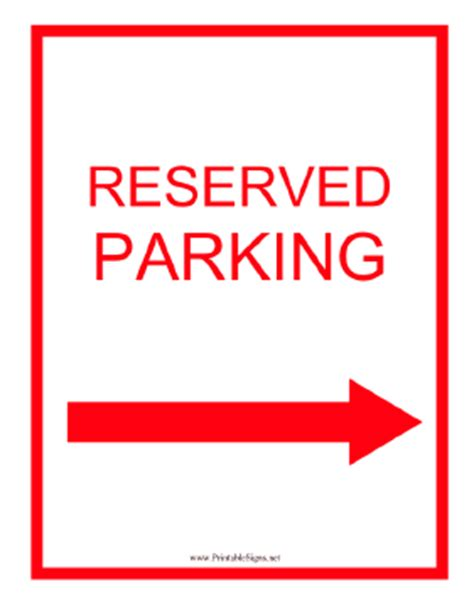 Printable Reserved Parking Right Red Sign Printable Reserved Parking Sign Template