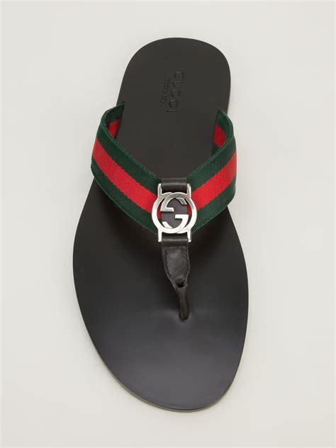 Stripe Flip Flops lyst gucci stripe flip flop in green for
