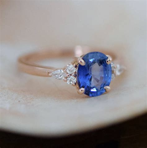 Blue Safir Sapphire 5 5ct gold sapphire ring oval blue sapphire ring 1 5ct